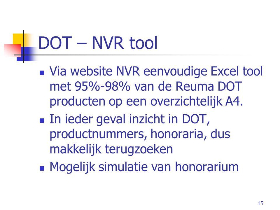 15 DOT – NVR tool Via website NVR eenvoudige Excel tool met 95%-98% van de Reuma DOT producten op een overzichtelijk A4.