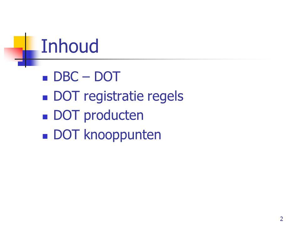 2 Inhoud DBC – DOT DOT registratie regels DOT producten DOT knooppunten