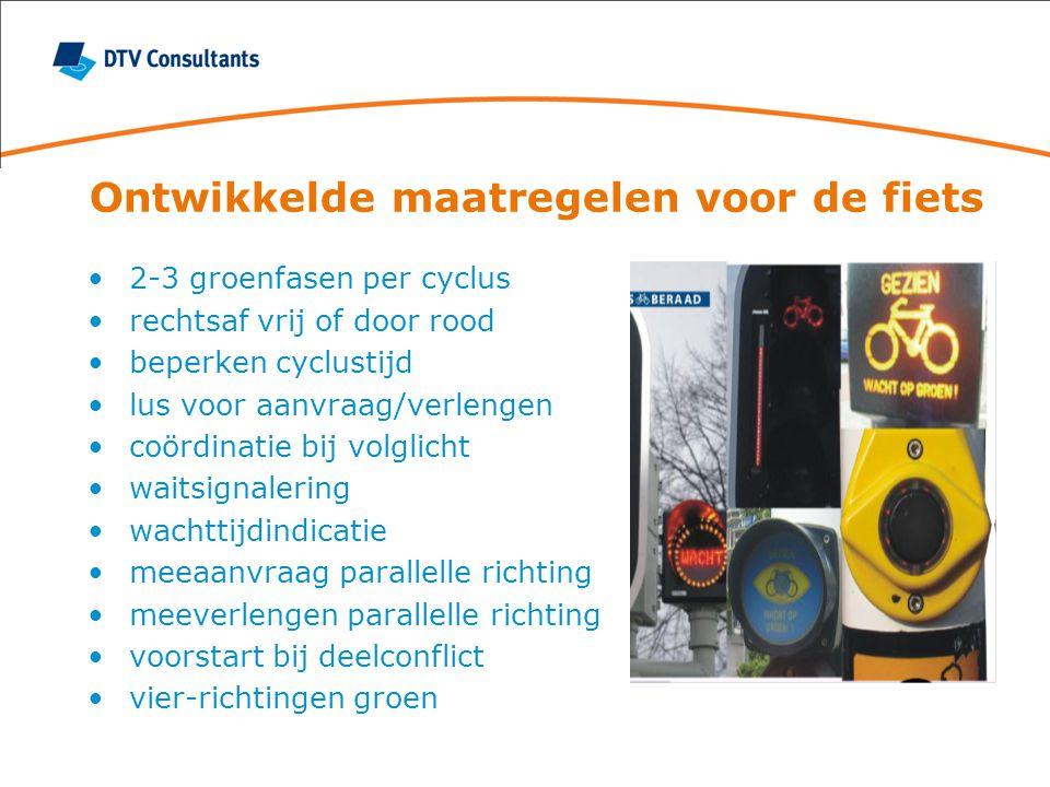 Ontwikkelde maatregelen voor de fiets 2-3 groenfasen per cyclus rechtsaf vrij of door rood beperken cyclustijd lus voor aanvraag/verlengen coördinatie bij volglicht waitsignalering wachttijdindicatie meeaanvraag parallelle richting meeverlengen parallelle richting voorstart bij deelconflict vier-richtingen groen
