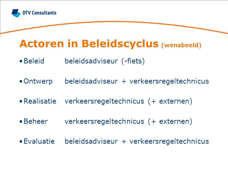 Actoren in Beleidscyclus (praktijk) Beleidverkeersregeltechnicus (+ beleidsadviseur) Ontwerpverkeersregeltechnicus + externen Realisatieexternen (+ verkeersregeltechnicus) Beheerexternen (+ verkeersregeltechnicus) Evaluatieniemand (+ verkeersregeltechnicus)