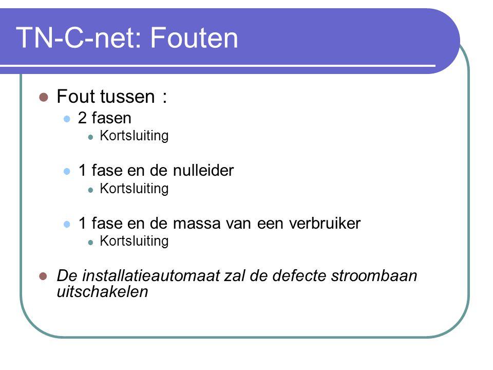 TN-C-net: De PEN- geleider NOOIT onderbreken.