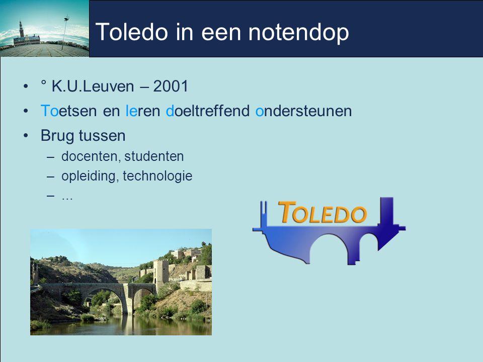 Toledo in een notendop ° K.U.Leuven – 2001 Toetsen en leren doeltreffend ondersteunen Brug tussen –docenten, studenten –opleiding, technologie –...