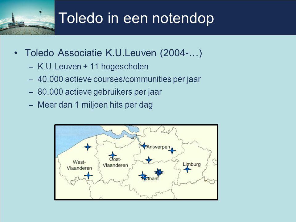 Toledo in een notendop Toledo Associatie K.U.Leuven (2004-…) –K.U.Leuven + 11 hogescholen –40.000 actieve courses/communities per jaar –80.000 actieve gebruikers per jaar –Meer dan 1 miljoen hits per dag