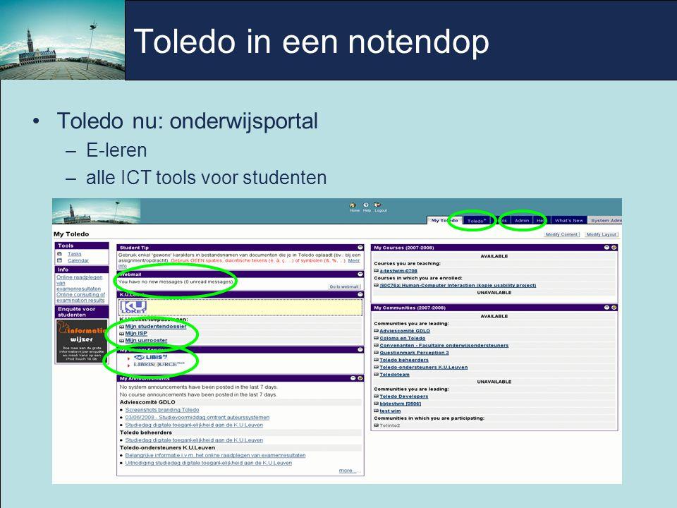 Toledo in een notendop Toledo nu: onderwijsportal –E-leren –alle ICT tools voor studenten