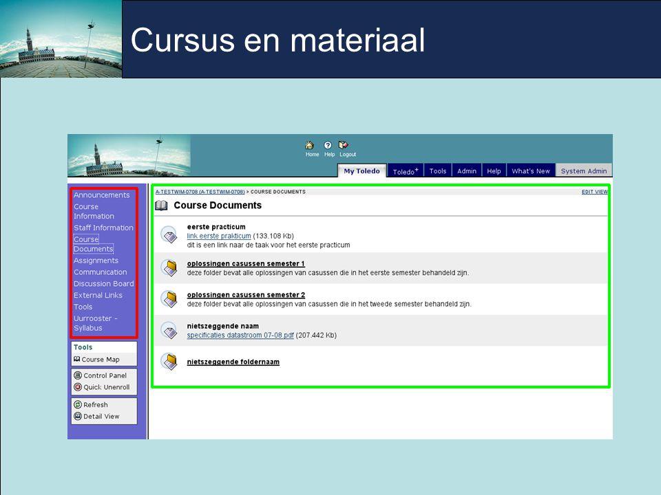 Cursus en materiaal