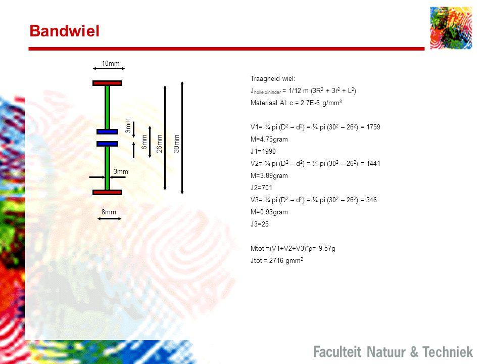 Bandwiel 30mm 6mm 26mm 3mm 8mm 10mm 3mm Traagheid wiel: J holle cininder = 1/12 m (3R 2 + 3r 2 + L 2 ) Materiaal Al: c = 2.7E-6 g/mm 3 V1= ¼ pi (D 2 –