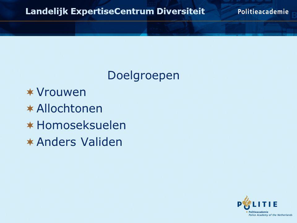 Doelgroepen  Vrouwen  Allochtonen  Homoseksuelen  Anders Validen Landelijk ExpertiseCentrum Diversiteit