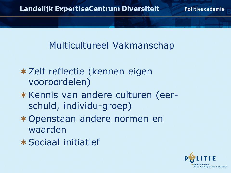 Multicultureel Vakmanschap  Zelf reflectie (kennen eigen vooroordelen)  Kennis van andere culturen (eer- schuld, individu-groep)  Openstaan andere normen en waarden  Sociaal initiatief Landelijk ExpertiseCentrum Diversiteit