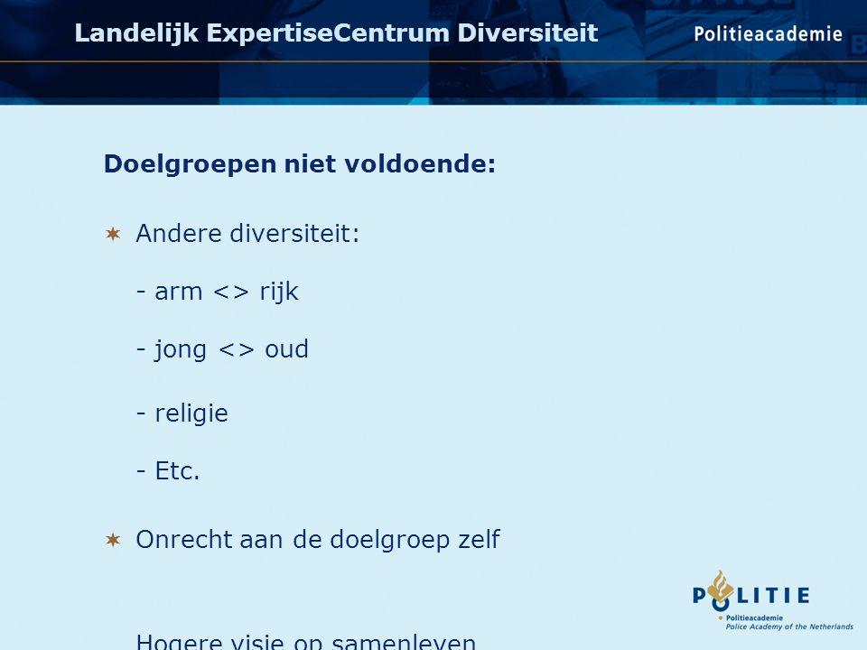Doelgroepen niet voldoende:  Andere diversiteit: - arm <> rijk - jong <> oud - religie - Etc.
