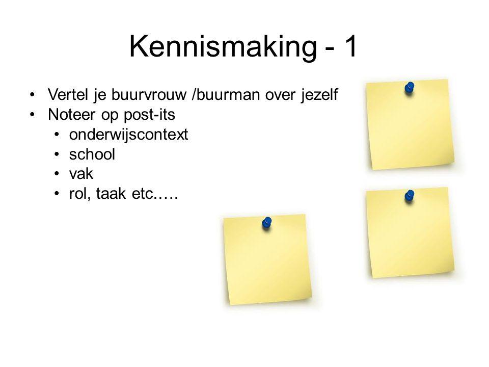 Kennismaking - 1 Vertel je buurvrouw /buurman over jezelf Noteer op post-its onderwijscontext school vak rol, taak etc.….