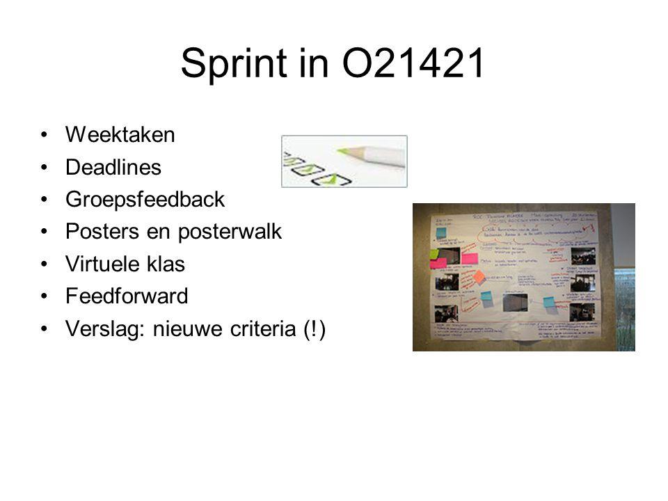 Sprint in O21421 Weektaken Deadlines Groepsfeedback Posters en posterwalk Virtuele klas Feedforward Verslag: nieuwe criteria (!)