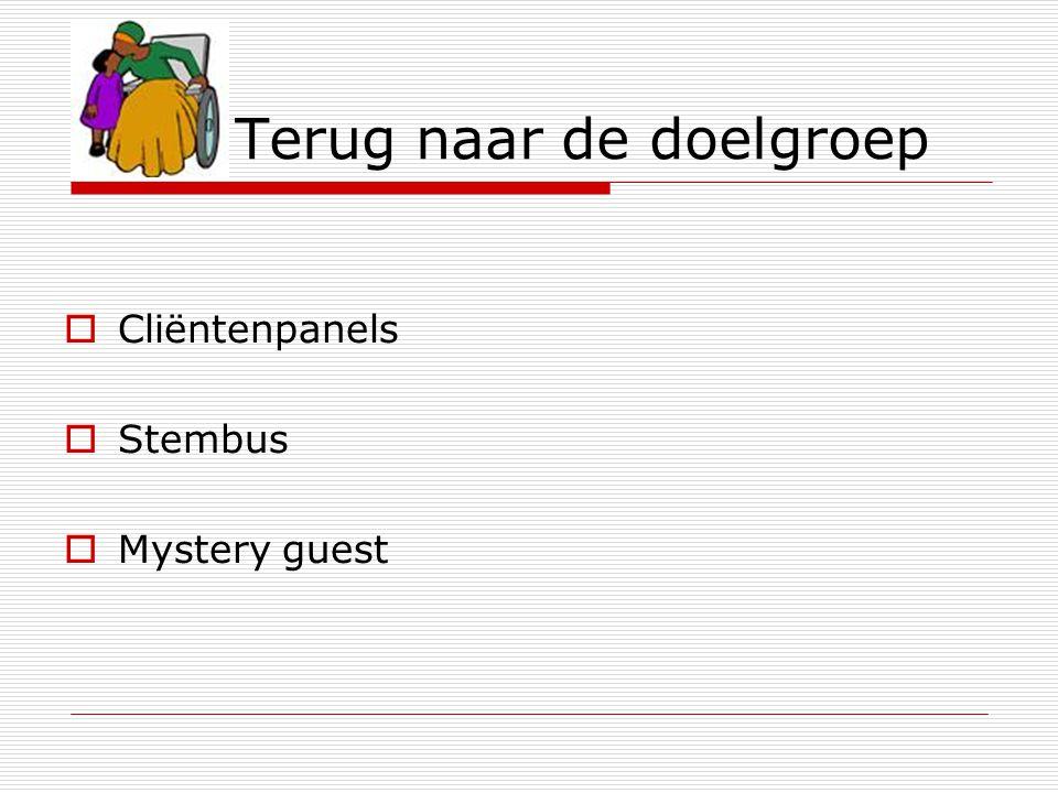 Terug naar de doelgroep  Cliëntenpanels  Stembus  Mystery guest