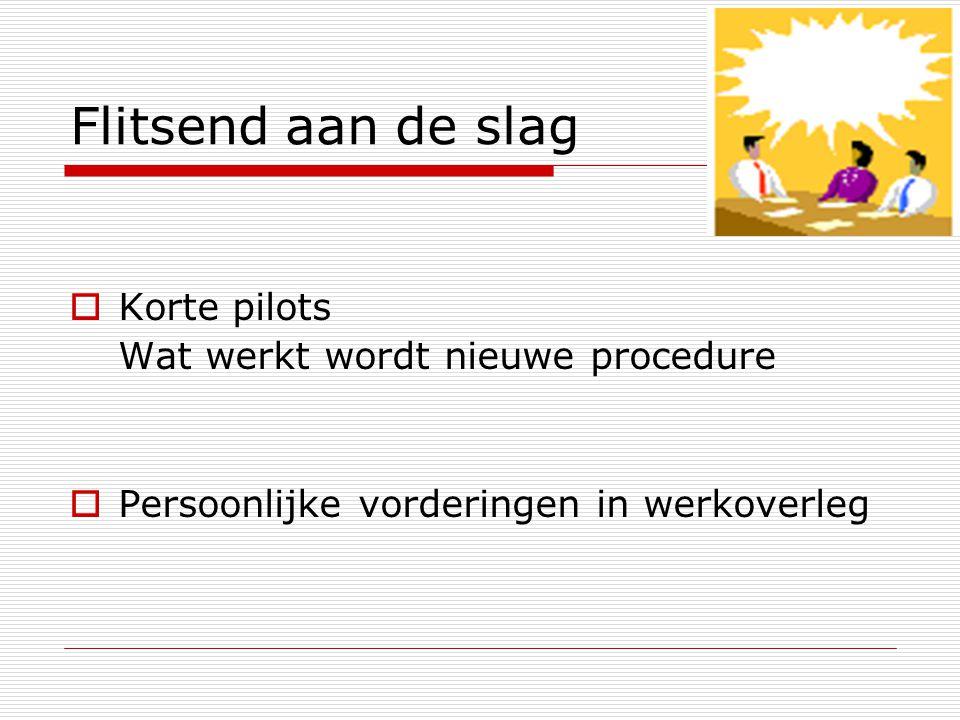 Flitsend aan de slag  Korte pilots Wat werkt wordt nieuwe procedure  Persoonlijke vorderingen in werkoverleg