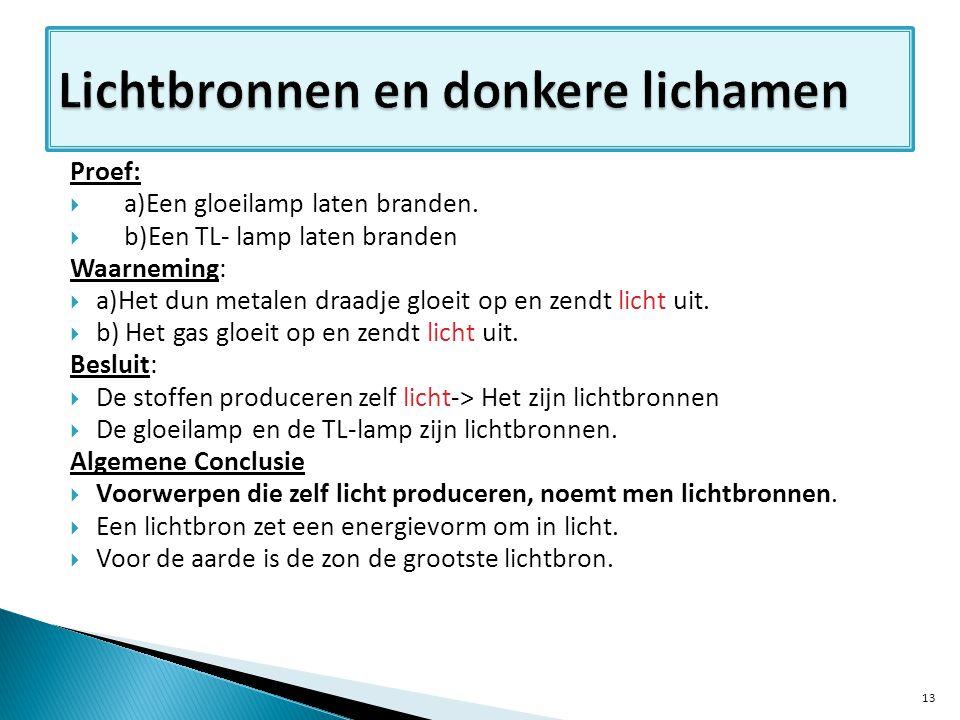 Proef:  a)Een gloeilamp laten branden.  b)Een TL- lamp laten branden Waarneming:  a)Het dun metalen draadje gloeit op en zendt licht uit.  b) Het