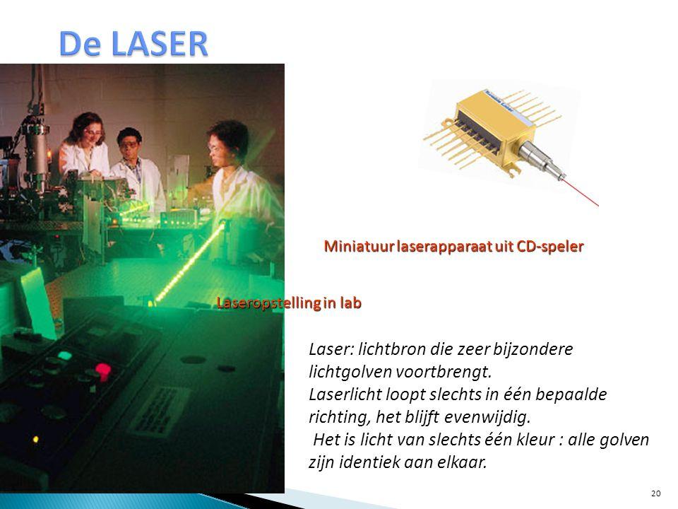 Miniatuur laserapparaat uit CD-speler Laseropstelling in lab Laser: lichtbron die zeer bijzondere lichtgolven voortbrengt. Laserlicht loopt slechts in