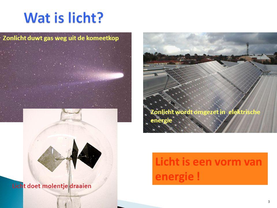 Licht is een vorm van energie ! Zonlicht duwt gas weg uit de komeetkop Zonlicht wordt omgezet in elektrische energie Licht doet molentje draaien 3