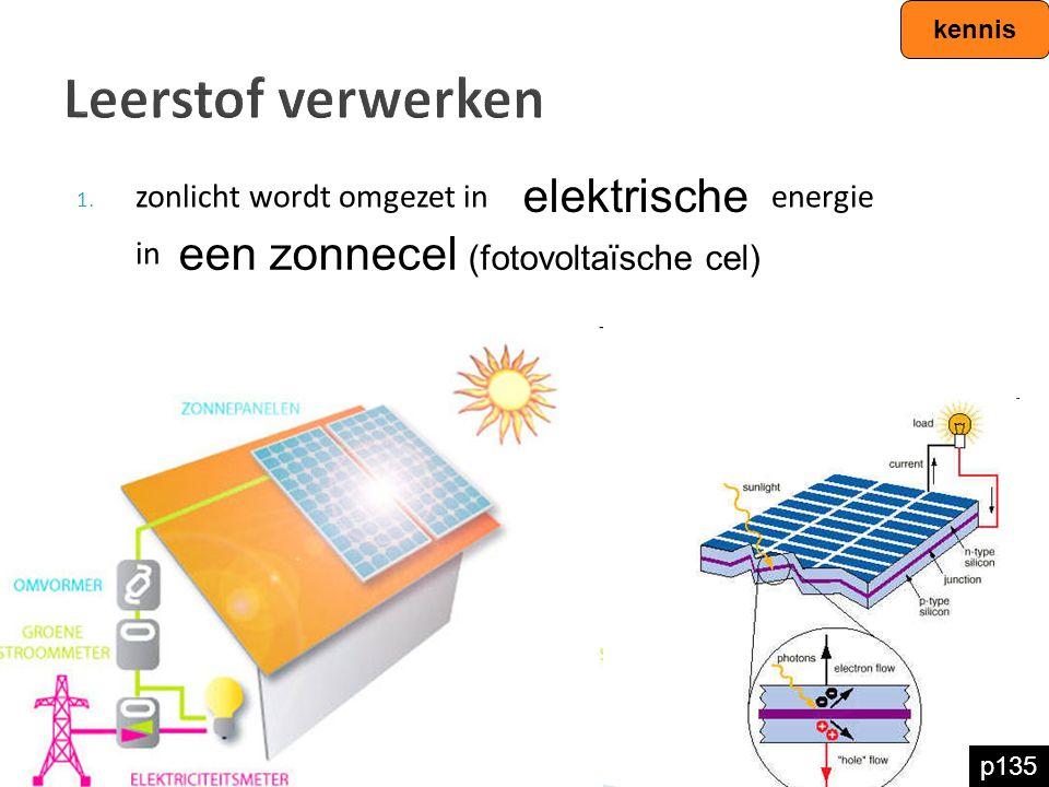 Leerstof verwerken 1. zonlicht wordt omgezet in energie in kennis elektrische een zonnecel (fotovoltaïsche cel) p135