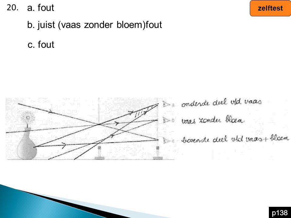 20. zelftest p138 a. fout b. juist (vaas zonder bloem)fout c. fout
