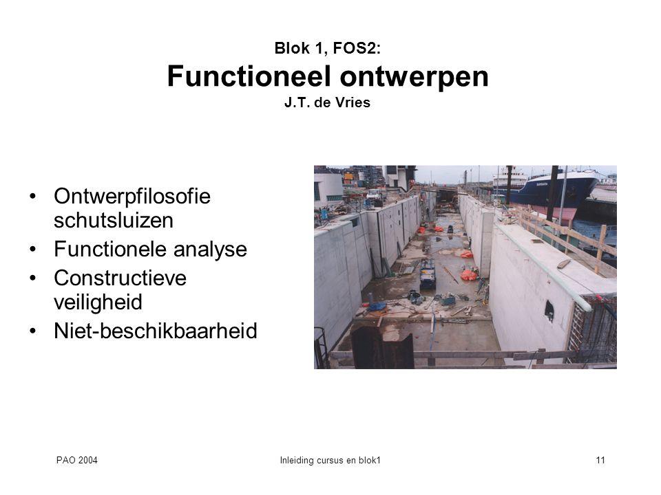 PAO 2004Inleiding cursus en blok111 Blok 1, FOS2: Functioneel ontwerpen J.T. de Vries Ontwerpfilosofie schutsluizen Functionele analyse Constructieve