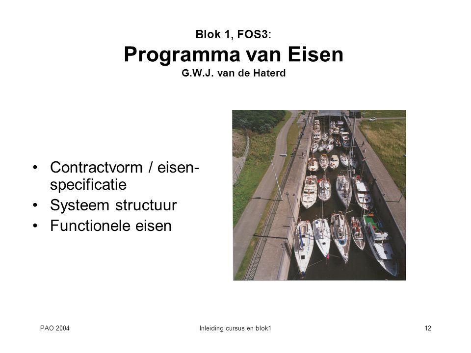 PAO 2004Inleiding cursus en blok112 Blok 1, FOS3: Programma van Eisen G.W.J. van de Haterd Contractvorm / eisen- specificatie Systeem structuur Functi