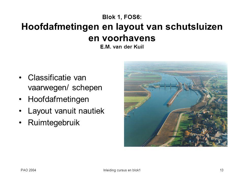 PAO 2004Inleiding cursus en blok113 Blok 1, FOS6: Hoofdafmetingen en layout van schutsluizen en voorhavens E.M. van der Kuil Classificatie van vaarweg