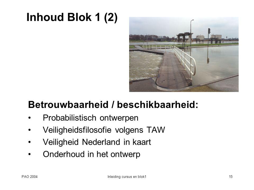 PAO 2004Inleiding cursus en blok115 Inhoud Blok 1 (2) Betrouwbaarheid / beschikbaarheid: Probabilistisch ontwerpen Veiligheidsfilosofie volgens TAW Ve