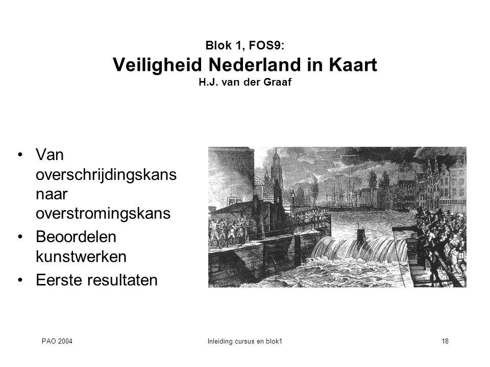PAO 2004Inleiding cursus en blok118 Blok 1, FOS9: Veiligheid Nederland in Kaart H.J. van der Graaf Van overschrijdingskans naar overstromingskans Beoo