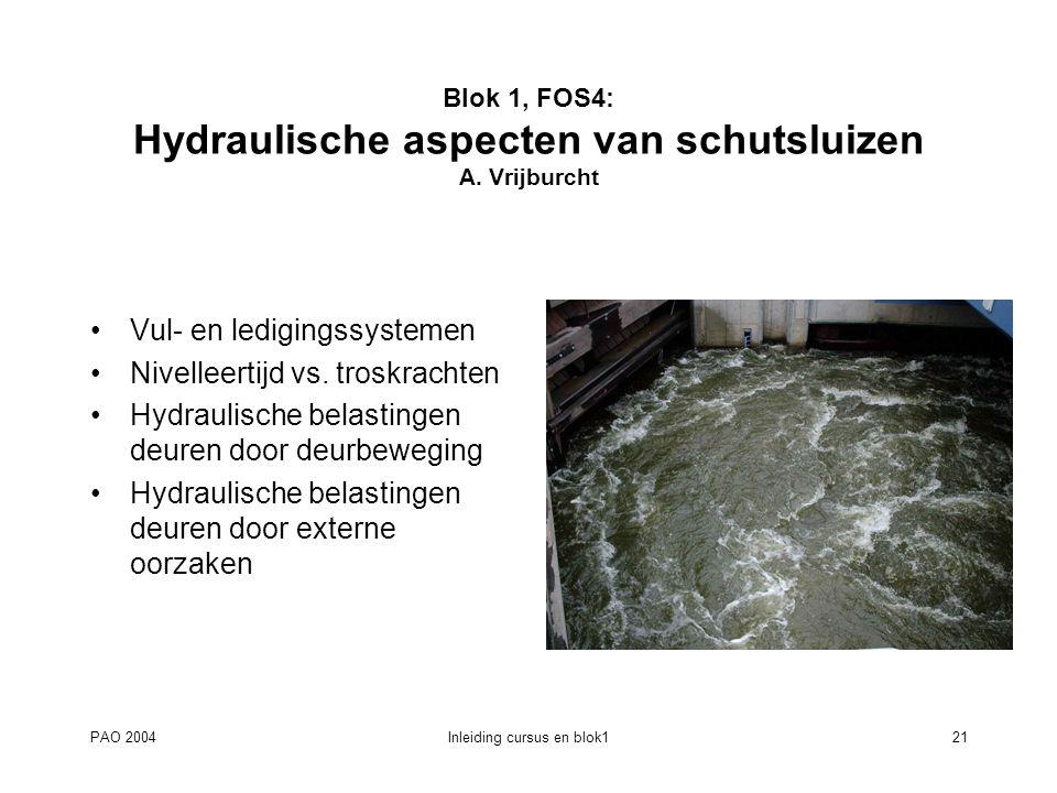 PAO 2004Inleiding cursus en blok121 Blok 1, FOS4: Hydraulische aspecten van schutsluizen A. Vrijburcht Vul- en ledigingssystemen Nivelleertijd vs. tro