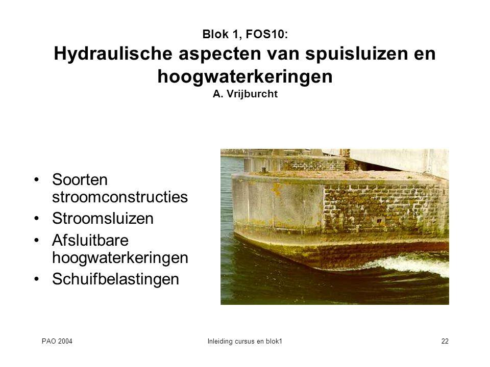 PAO 2004Inleiding cursus en blok122 Blok 1, FOS10: Hydraulische aspecten van spuisluizen en hoogwaterkeringen A. Vrijburcht Soorten stroomconstructies