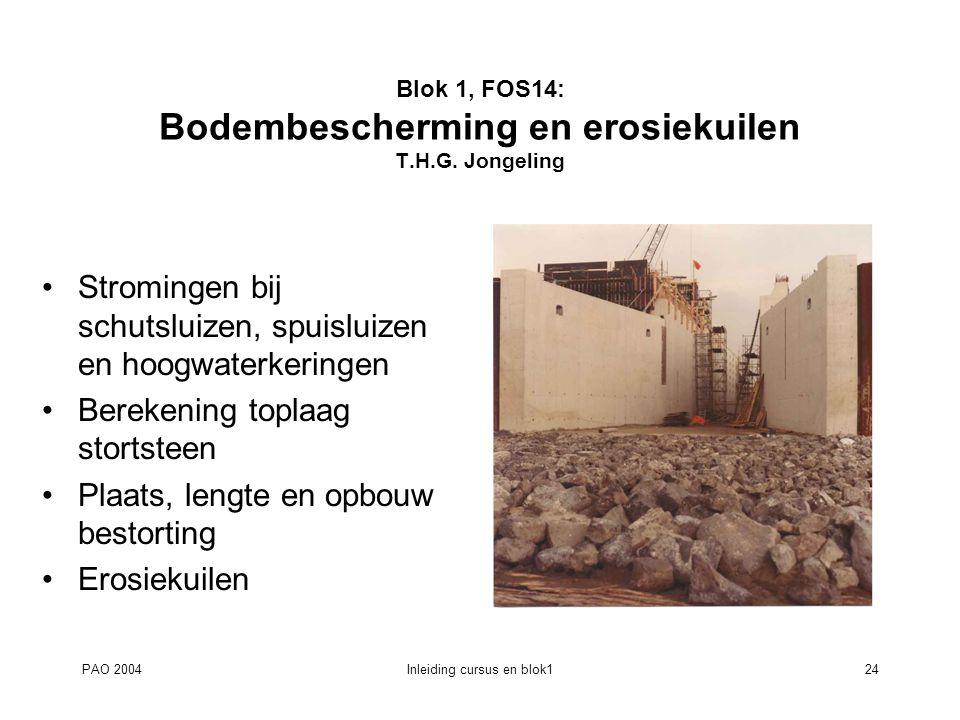 PAO 2004Inleiding cursus en blok124 Blok 1, FOS14: Bodembescherming en erosiekuilen T.H.G. Jongeling Stromingen bij schutsluizen, spuisluizen en hoogw