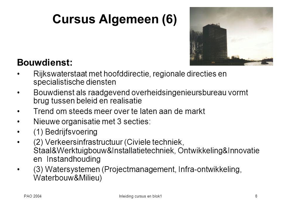 PAO 2004Inleiding cursus en blok18 Cursus Algemeen (6) Bouwdienst: Rijkswaterstaat met hoofddirectie, regionale directies en specialistische diensten