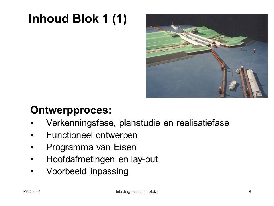 PAO 2004Inleiding cursus en blok19 Inhoud Blok 1 (1) Ontwerpproces: Verkenningsfase, planstudie en realisatiefase Functioneel ontwerpen Programma van
