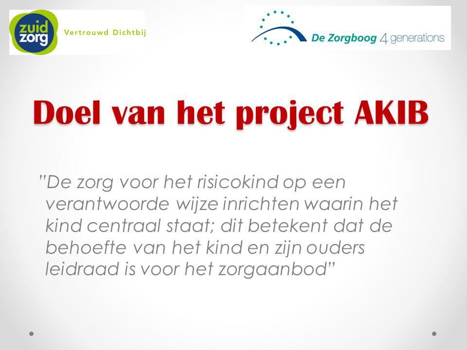 """Doel van het project AKIB """"De zorg voor het risicokind op een verantwoorde wijze inrichten waarin het kind centraal staat; dit betekent dat de behoeft"""