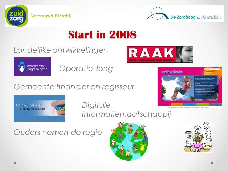 Start in 2008 Landelijke ontwikkelingen Operatie Jong Gemeente financier en regisseur Digitale informatiemaatschappij Ouders nemen de regie