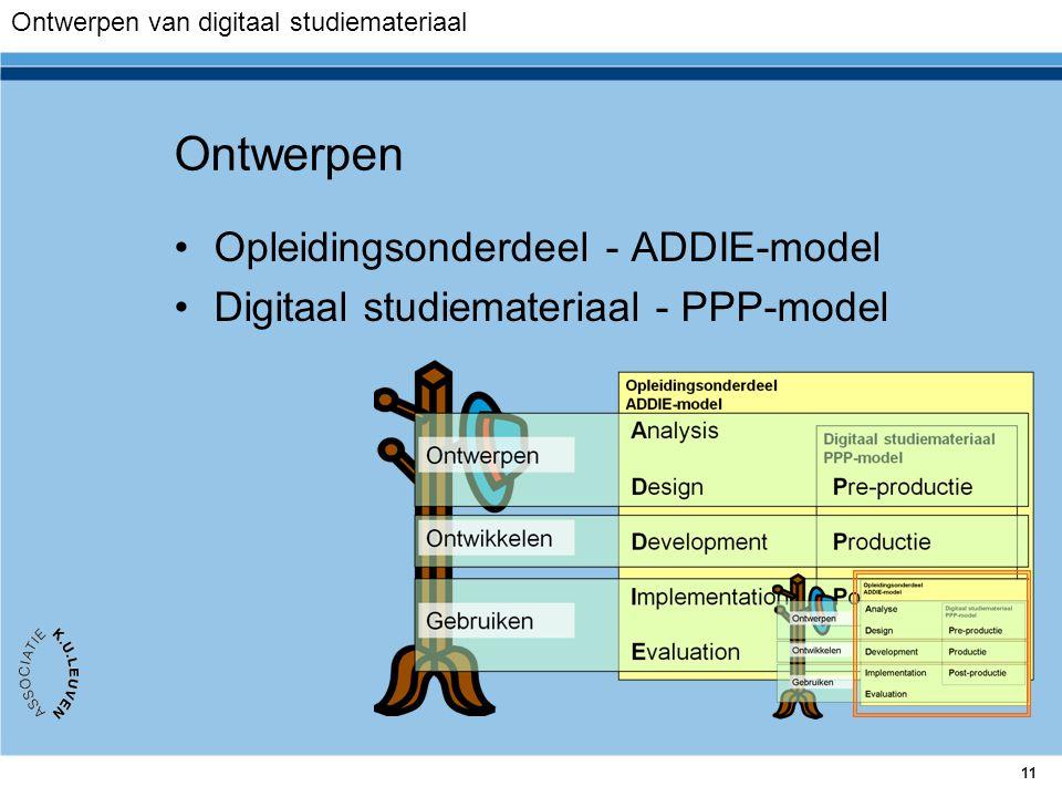 11 Ontwerpen Opleidingsonderdeel - ADDIE-model Digitaal studiemateriaal - PPP-model Ontwerpen van digitaal studiemateriaal