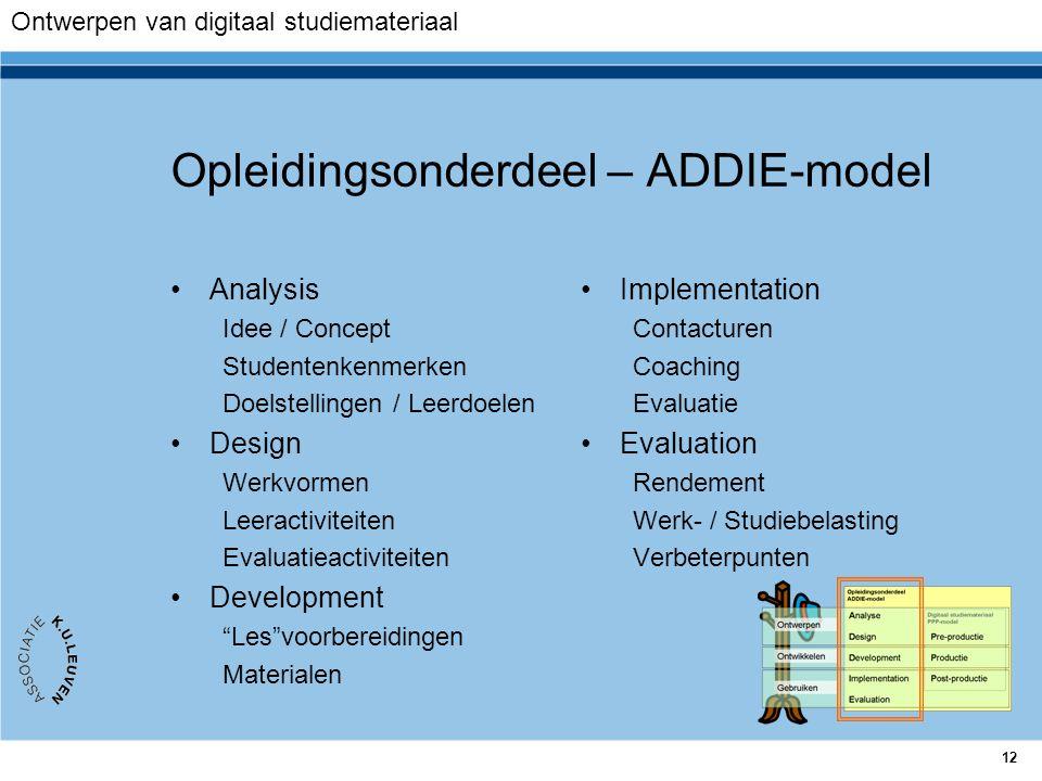 12 Opleidingsonderdeel – ADDIE-model Analysis Idee / Concept Studentenkenmerken Doelstellingen / Leerdoelen Design Werkvormen Leeractiviteiten Evaluat