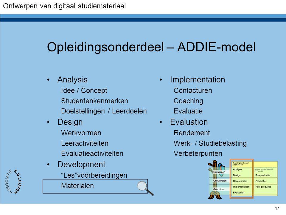 17 Opleidingsonderdeel – ADDIE-model Analysis Idee / Concept Studentenkenmerken Doelstellingen / Leerdoelen Design Werkvormen Leeractiviteiten Evaluat