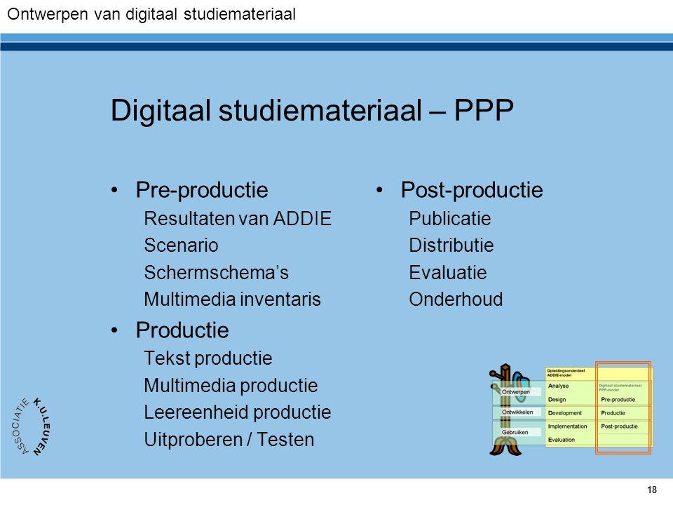 18 Digitaal studiemateriaal – PPP Pre-productie Resultaten van ADDIE Scenario Schermschema's Multimedia inventaris Productie Tekst productie Multimedi