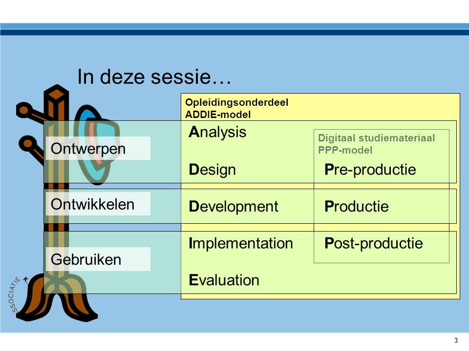 3 Opleidingsonderdeel ADDIE-model Digitaal studiemateriaal PPP-model In deze sessie… Ontwerpen Ontwikkelen Gebruiken Evaluation Analysis Design Develo