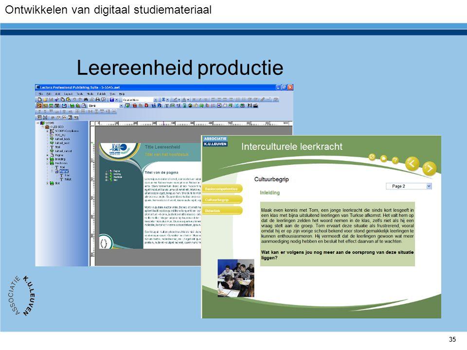 35 Leereenheid productie Ontwikkelen van digitaal studiemateriaal
