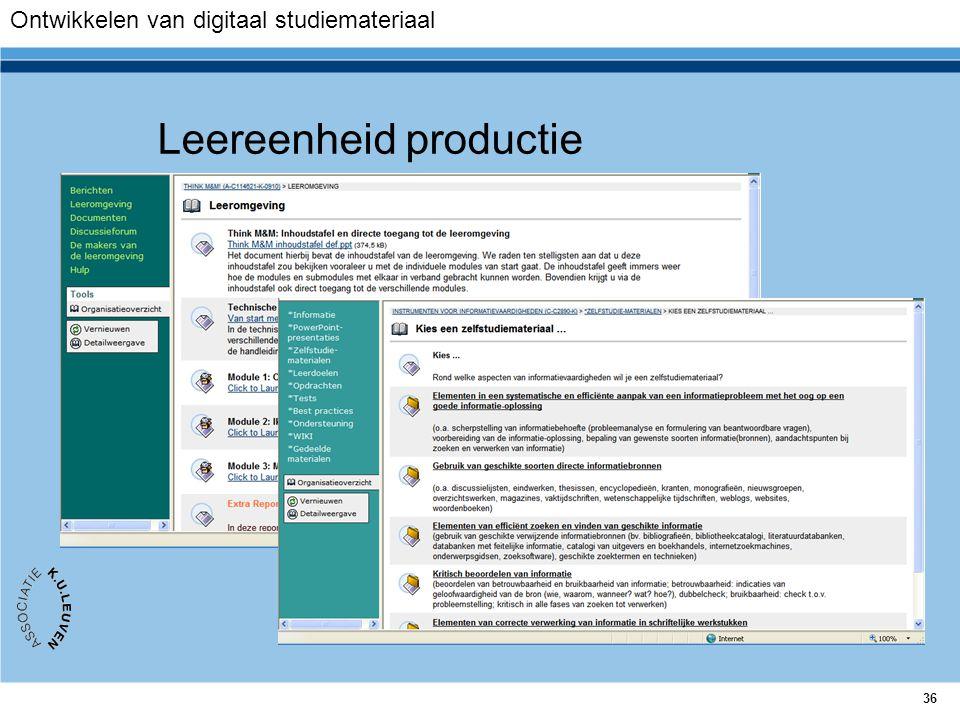36 Leereenheid productie Ontwikkelen van digitaal studiemateriaal