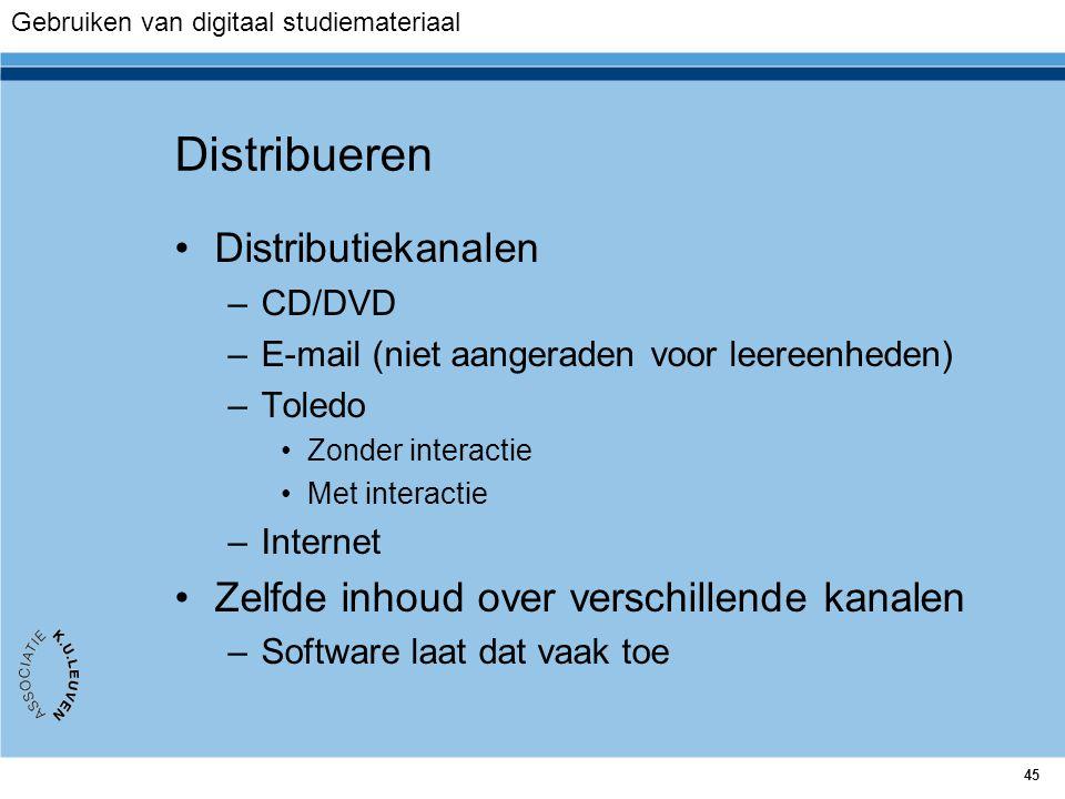 45 Distribueren Distributiekanalen –CD/DVD –E-mail (niet aangeraden voor leereenheden) –Toledo Zonder interactie Met interactie –Internet Zelfde inhou