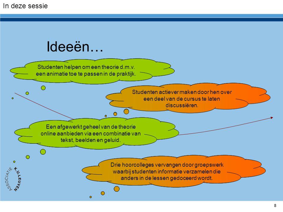 8 Ideeën… Drie hoorcolleges vervangen door groepswerk waarbij studenten informatie verzamelen die anders in de lessen gedoceerd wordt. Studenten actie