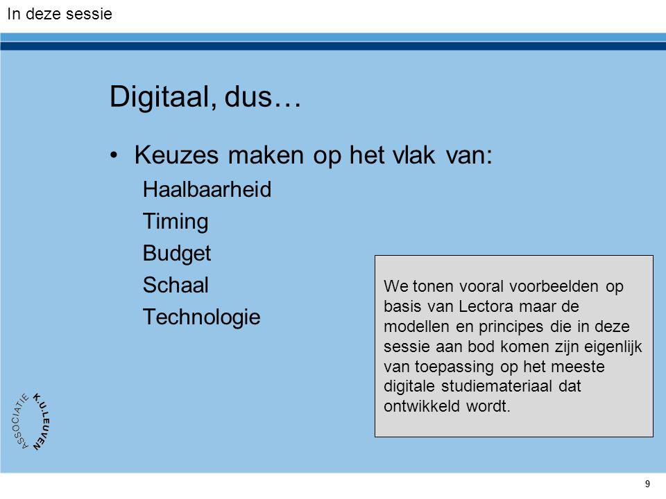 9 Digitaal, dus… Keuzes maken op het vlak van: Haalbaarheid Timing Budget Schaal Technologie In deze sessie We tonen vooral voorbeelden op basis van L