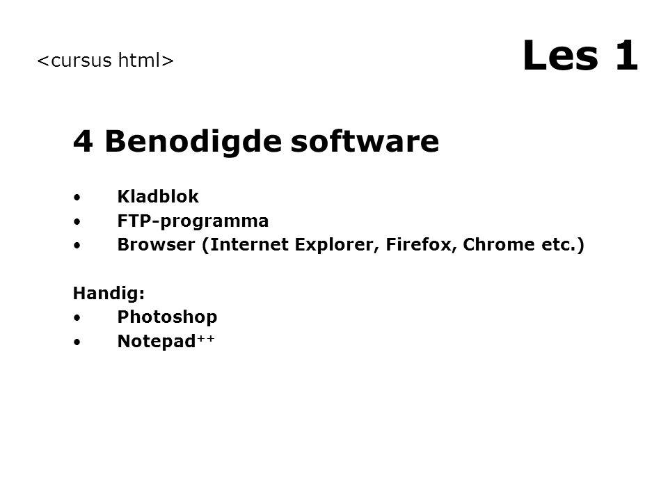 Les 1 3 Inleiding website Website is een verzameling bestanden Bestanden zijn tekstbestanden Om pagina's op te maken gebruiken we HTML Bestanden maken we zichtbaar door FTP