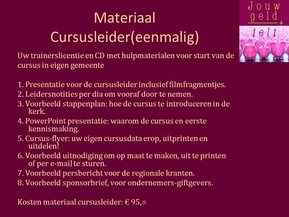Materiaal Cursusleider(eenmalig) Uw trainerslicentie en CD met hulpmaterialen voor start van de cursus in eigen gemeente 1.