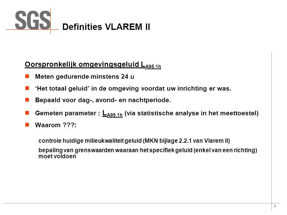 8 Definities VLAREM II Oorspronkelijk omgevingsgeluid L A95,1h Meten gedurende minstens 24 u 'Het totaal geluid' in de omgeving voordat uw inrichting er was.
