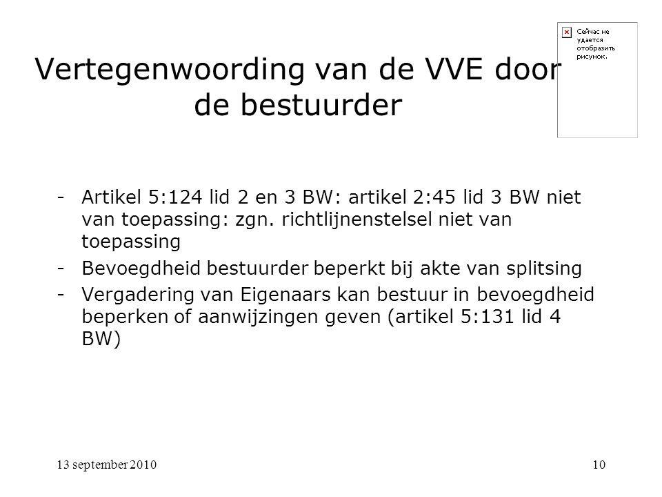 10 Vertegenwoording van de VVE door de bestuurder -Artikel 5:124 lid 2 en 3 BW: artikel 2:45 lid 3 BW niet van toepassing: zgn. richtlijnenstelsel nie