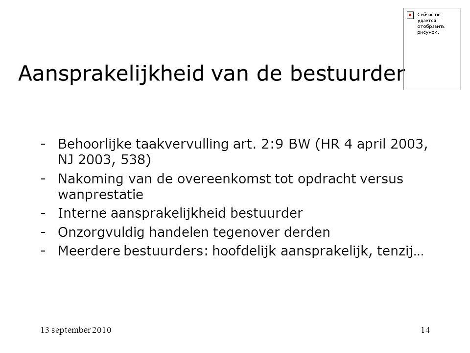 13 september 201014 Aansprakelijkheid van de bestuurder -Behoorlijke taakvervulling art.
