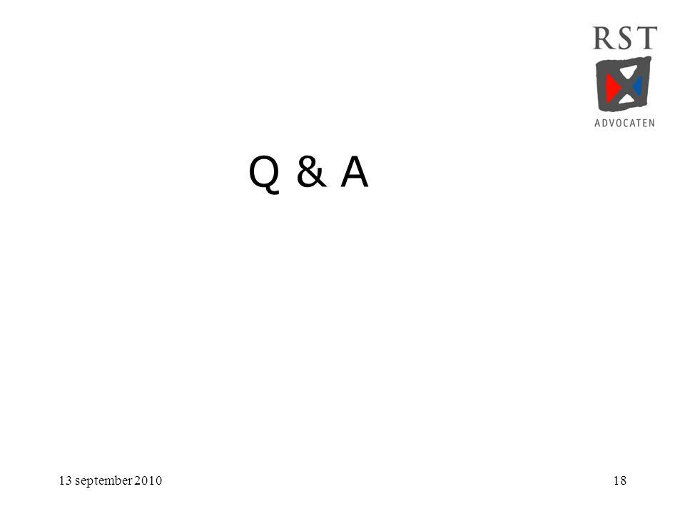 13 september 201018 Q & A